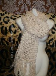 Теплые шарфы цвет шампань и черный толстая нить акрил