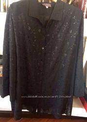 Чёрная , белая блуза туника шифон, большой, размер, 56-58