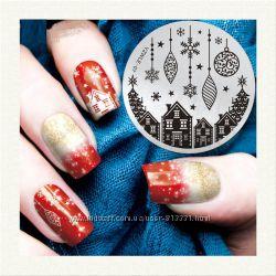 Штампы для дизайна ногтей новогодние стемпинг