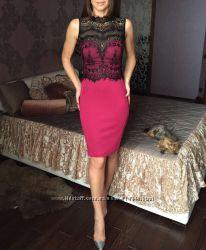 Элегантное вечернее платье с кружевной вставкой цвет марсала