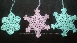 Снежинки, Новогоднее украшение, снежинки крючком