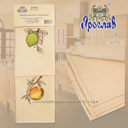 Набор полотенец вафельных Сувенирных фрукты лимон