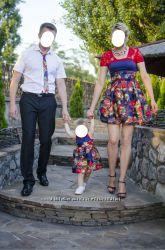 Платья мама - дочка , галстук папе