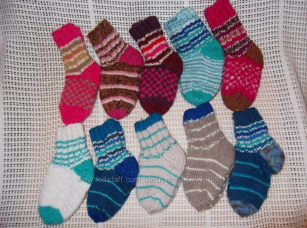 Вязанные носки малышам с козьим пухом