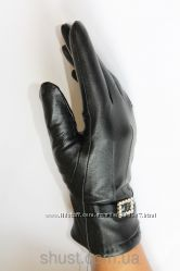Зимние перчатки без ростовок, кожа, трикотаж, стрейч.