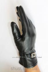 Зимние перчатки без ростовок, кожа, трикотаж, стрейч. Без орг сбора