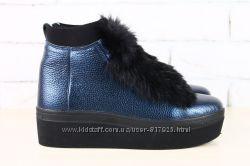 Зимние кожаные высокие криперы синие