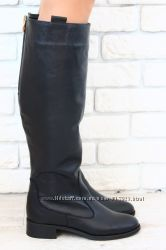 Сапоги зимние высокие черные кожаные