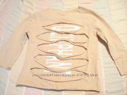 Модная футболка на девочку 5-6-7 лет с рваными полосами
