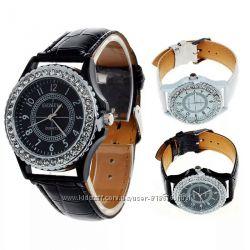 Часы Geneva камни ремень кожа PU