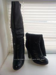Черные зимние высокие сапоги из натуральной кожи