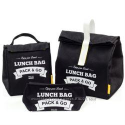 Комплект термосумок для ланча Pack&Go Lunch Bag черный