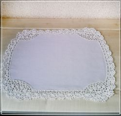 Винтажная Льняная салфетка с кружевом