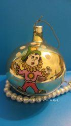 елочная игрушка СССР Шар желтый