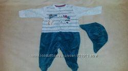 Велюровый комбинезончик  шапочка Aziz bebe Турция 3-6 месяцев
