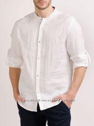 Мужская рубашка с воротом стоечкой натуральный лен. ХС-12ХХЛ.