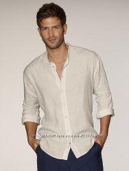 Льняная рубашка со стойкой, с воротничком, с капюшоном, цвета, полномерные