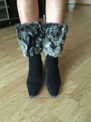Сапоги зимние, замшевые, овчина, размер 38.
