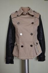 Куртка пиджак тренч ветровка офигенная с рукавами из кожзама фирменная Atmo