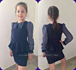 Школьное платье с шифоновыми рукавами