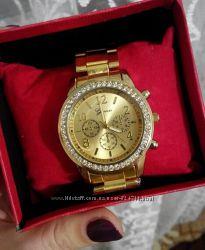 Часы женские GENEVA Swarowski, золотые и серебрянные