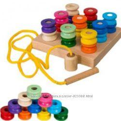 Вкладыш шнуровка вставка цилиндр деревянные игрушки Руди