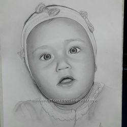 Портрет карандашом, рисую деток