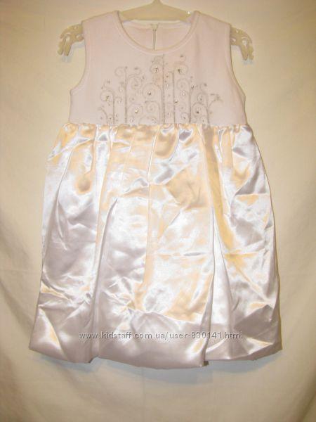 Белоснежное платье-сарафан для утренника СНЕЖИНКА рост 104