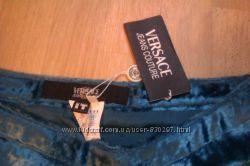 Versache Шикарная юбка, бирюзовая, ткань вроде плюша, оригинал