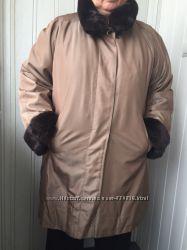 Пальто с натуральным мехом, размер 54