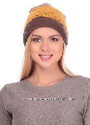 Яркие теплые трехцветные шапочки шерсть расцветки