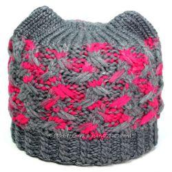 Цветные шапочки- кошечки  шерсть
