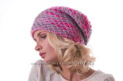 Стильная яркая шапка-колпак шерсть цвета