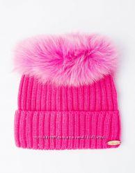 Оригинальная шапка помпон-ободок песец шерсть расцветки