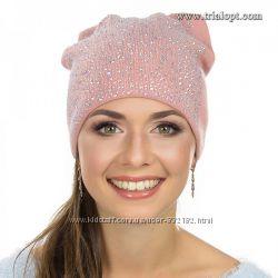 Красивая  шапка кошка много страз шерсть ангора флис
