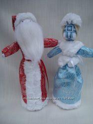 Дед Мороз и Снегурочка. Кукла-мотанка. Оберег, подарок и сувенир.