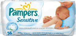 Детские влажные салфетки Pampers Sensitive, 56 шт