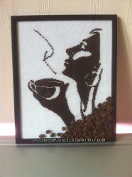 Картина вышивка крестом Девушка с кофе