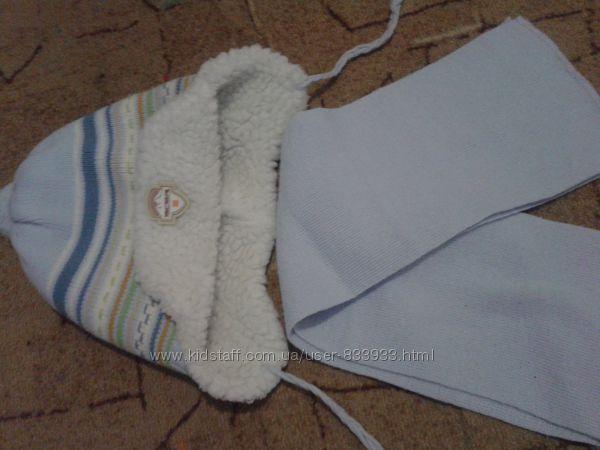 Зимняя шапка с шарфиком на мальчика