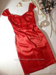 Атласное красное платье миди - s