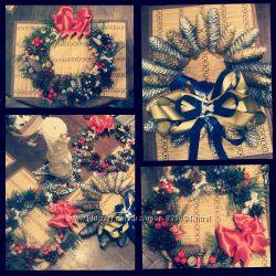 Рождественские венки, декорирование свечи и веночек под Новогоднюю свечу