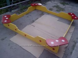 Песочница из дерева, песочник, деревянная песочница с 4 сидушками