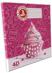 4D Тетрадь ученическая Капкейк, 12 листов, серия Сладости