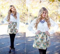 Тренд сезона, объемная юбка гобелен в цветы befree