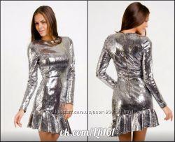 Шикарное  платье love republic цвет металлик Распродажа