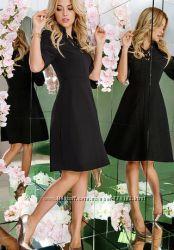 Стильные женственные черные платья с воротничком