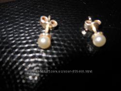 Серебрянные серьги с натуральным жемчугом