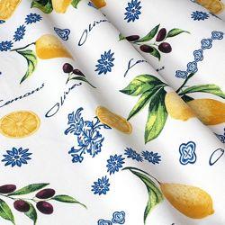 Ткань для штор, римских штор, скатертей и покрывал лимоны, пошив и дизайн