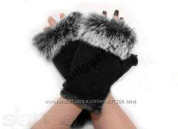 Перчатки-Митенки с Натуральным Мехом Кролика Грейся Стильно