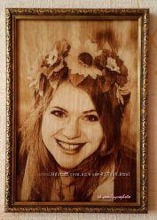 Выжгу на дереве портрет по фото. Оригинальный и неповторимый подарок.